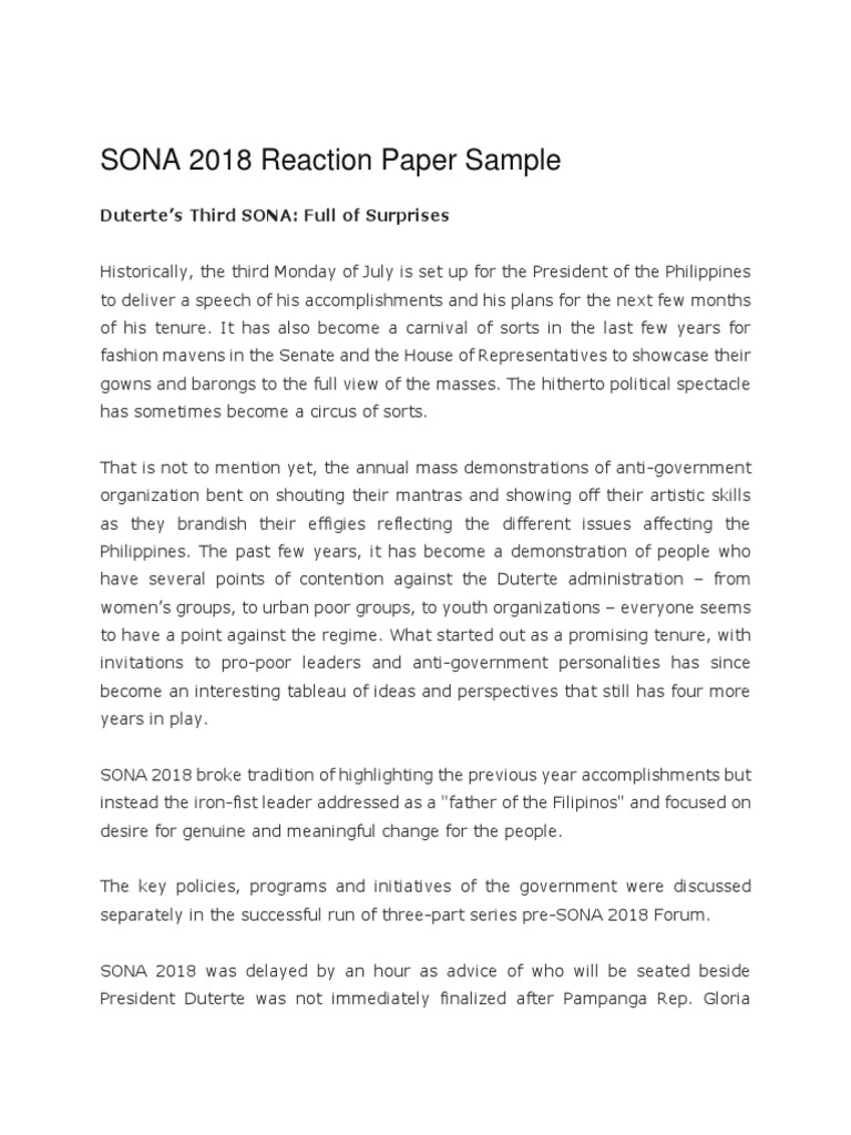Sona 2018 Reaction Paper Sample Rodrigo Duterte Philippines
