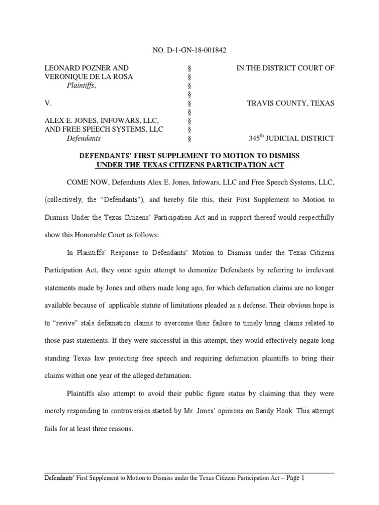 2018-07-27 Ds' First Supp to Motion to Dismiss Under TCPA With