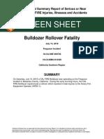 Cal Fire Bulldozer Rollover Fatality Green Sheet