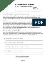 Practice Worksheet 1 Grade IV English
