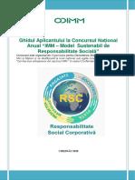 """Ghidul Aplicantului Concursulului Naţional """"IMM – Model sustenabil de Responsabilitate Socială"""", ediția a IX-a"""