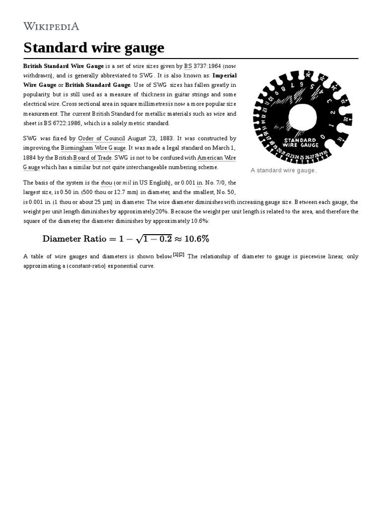 Standard Wire Gauge | Wire | Manufactured Goods