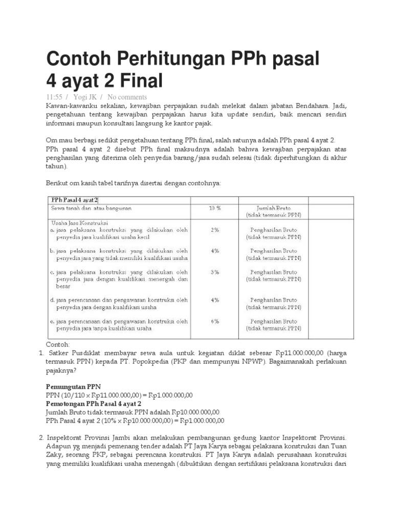Contoh Perhitungan Pph Pasal 4 Ayat 2 Final Jasa Kontruksi