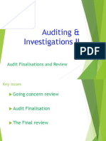12. AC414 - Audit and Investigations II - Audit Finalisation and Review