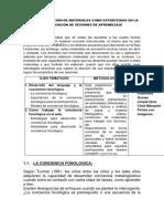Uso y Elaboración de Materiales Como Estrategias en La Planificación de Sesiones de Aprendizaje
