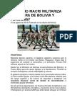 Mauricio Macri Militariza Frontera de Bolivia y Paraguay