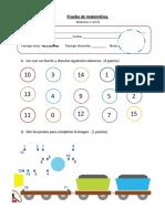 prueba numeros 1 al 15 1° basico
