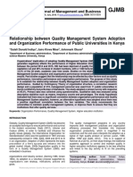 Relationship between Quality Management System Adoption and Organization Performance of Public Universities in Kenya