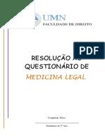 Questionário e Resolução de Medicina Legal