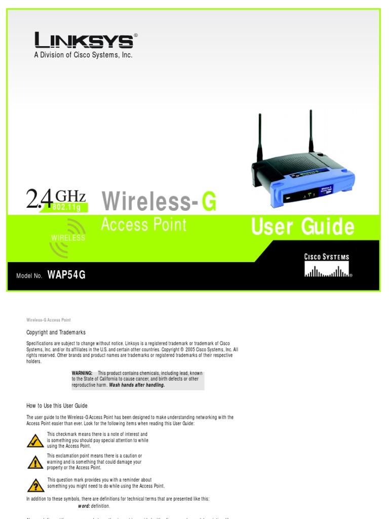 Linksys WAP54G Manual | Wireless Access Point | Wireless Lan