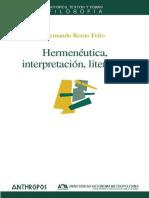 Hermenéutica, interpretación, literatura