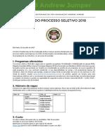 Edital Do Processo Seletivo 2018