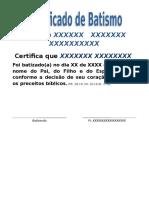 Certificado de Batismo 1