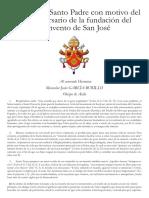 Mensaje del Santo Padre con motivo del 450 aniversario de la fundación del Convento de San José