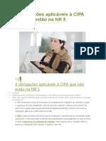 4 Obrigações Aplicáveis à CIPA Que Não Estão Na NR 5