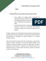 Comunicado 19 La CRE aprueba las tarifas de almacenamiento de ASA+RC (002) coment AMPA