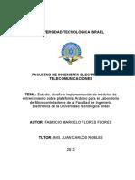 Estudio, diseño e implementación de módulos de entrenamiento sobre plataforma Arduino para el Laboratorio de Microcontroladores de la Facultad de Ingeniería Electrónica de la Universidad Tecnológica Israel