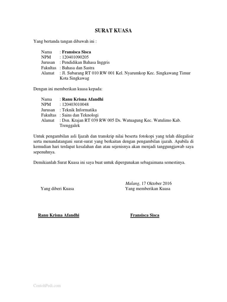 Contoh Surat Kuasa Pengambilan Ijazahdocx