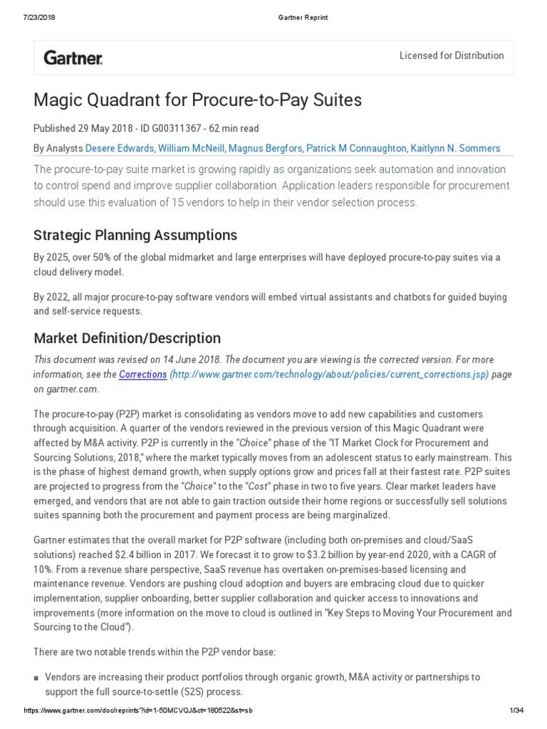 Gartner P2P 2018 | Enterprise Resource Planning | Cloud