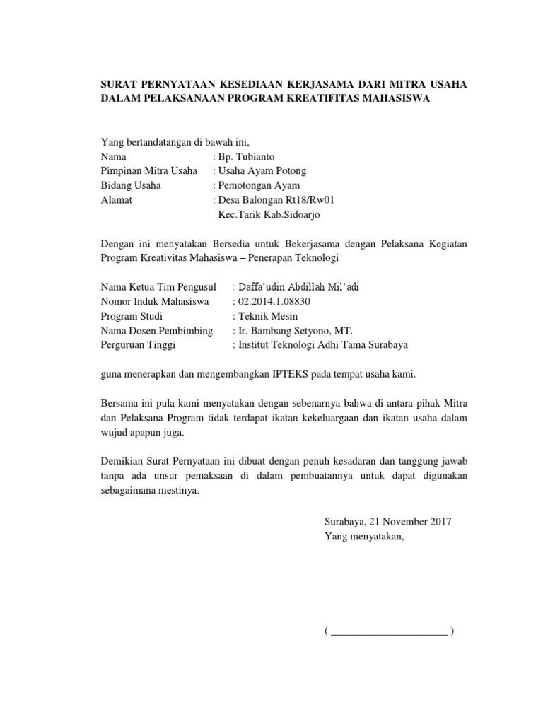 Surat Pernyataan Kerjasamadocx