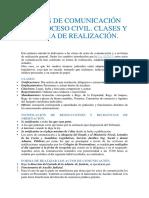 ACTOS DE COMUNICACIÓN DEL PROCESO CIVIL