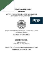 A Summer Internship Report