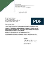 Michael Brown Resignation Letter