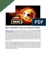 Bursa Judi Bola Terpercaya Deposit 25 Ribu