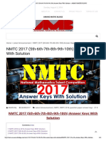 NMTC 2017 (5th-6th-7th-8th-9th-10th) Answer Keys With Solution – AMANS MATHS BLOGS