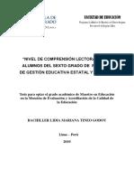 2010_Tineo_Nivel de Comprensión Lectora en Los Alumnos Del Sexto Grado de Primaria de Gestión Educativa Estatal y Privada