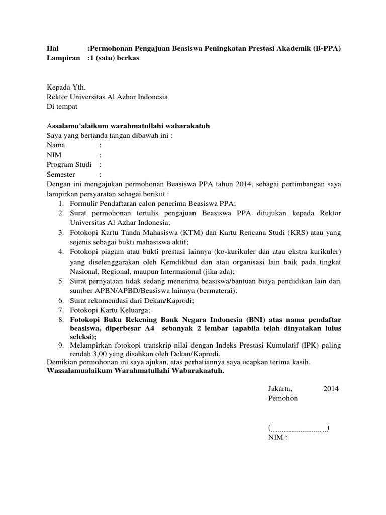 Surat Permohonan Pengajuan Beasiswa Ppa Docx