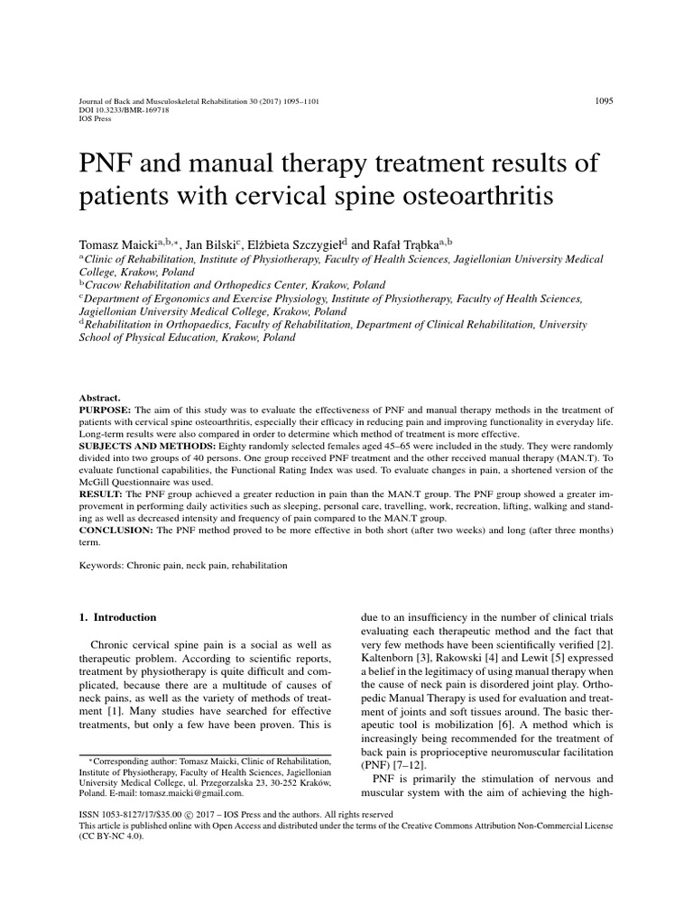Array - 2017 pnf and manual therapy treatment results of cervical oa      rh   scribd com