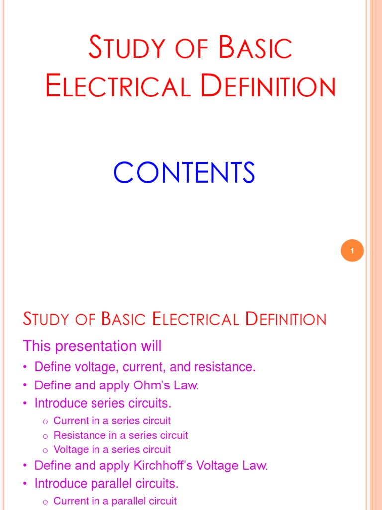 02 Study Of Basic Electrical Definitoin 20170622 Series And Parallel Circuit Voltage Circuits Electric Current