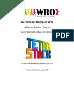 WRO 2018 ARC Tetrastack Game Rule