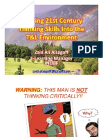 Infusing 21st Century Thinking Skills Into the T&L Environment