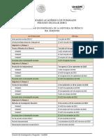 Calendario de Asignaturas Ciclo Escolar 2018-2 S1