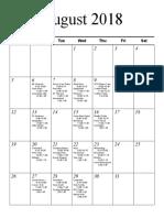 Senior Schedule August September