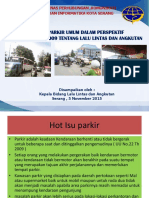Paparan Fasilitas Parkir Umum Oleh Kabid Lalin
