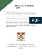 Modelo de Plan Anual de Trabajo Del CARE