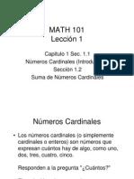 Números Cardinales (Introducción) y Suma de Números Cardinales Lección 1