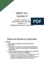 Resta de Números Cardinales y Multiplicando Números Cardinales Lección 2
