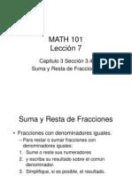 Suma y Resta de Fracciones Lección 7