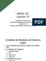 Unidades de Medidas Inglés y MétricoLección 13