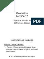 Definiciones Básicas en Geometria Lección 17