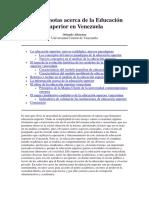 Algunas Notas Acerca de La Educación Superior en Venezuela