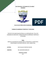 Cristina Valeria Inca Vallejo - Manual de Gestión de Calidad Para La Atención Al Cliente en El Departamento de Recepción Del Hotel Camino Real