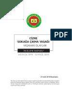 Cizre Sokağa Çıkma Yasağı Yaşanan Olaylar İnceleme Raporu (4-12 Eylül 2015)
