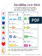 Practice Digit Addition Grid 1