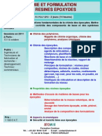 Formation Continue Chimie & Formulation Des Resines Epoxydes 2011