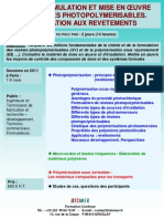 Formation Continue Chimie Des Resines Photopolymerisables 2011